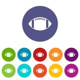 Rugby ball set icons Royalty Free Stock Photography