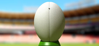 Rugby Ball In A Stadium Daytime Stock Photo