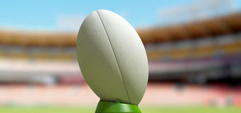 Rugby Ball In A Stadium Daytime Royalty Free Stock Photo