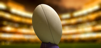 Rugby Ball In A Stadium Night Royalty Free Stock Photography