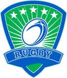 Rugby ball stars shield Stock Photography
