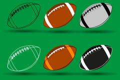 Rugby ball vector illustration - set, American football ball, Stock Photo