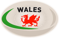 Rugby Ball with Welsh dragon. Illustration of a rugby ball with Welsh dragon and words Wales on isolated white background royalty free illustration