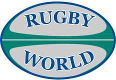 Rugby ball with words rugby world Royalty Free Stock Photography