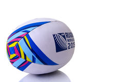 Rugby ball world cup for 2015 angled Royalty Free Stock Photo