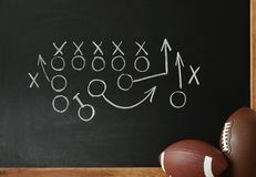 Rugby balls near chalkboard with football game. Scheme royalty free stock photography