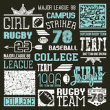 Rugby and baseball college team design elements Royalty Free Stock Photography