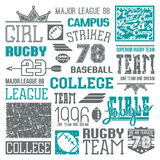 Rugby and baseball team college design elements Stock Photo
