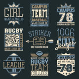 Rugby and baseball team college emblems Royalty Free Stock Photos