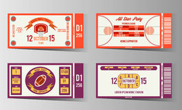 Rugby and Basketball ticket vector design template Stock Photos