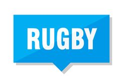 Rugby price tag. Rugby blue square price tag Stock Photography