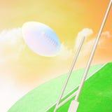 Rugby, bolas do futebol americano em voo fotografia de stock
