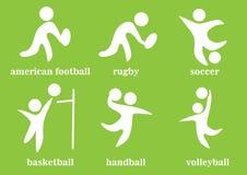 Rugby, calcio, pallamano, voleyball, football americano, pallacanestro, icona dello sport di squadra Immagini Stock