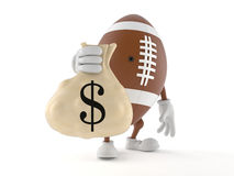 Rugby character with money bag Royalty Free Stock Photos