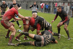 Rugby clash Royalty Free Stock Image
