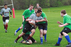 Rugby dans l'action Photo libre de droits