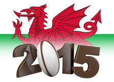 Rugby 2015 design with Wales Flag Stock Photo