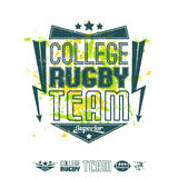Rugby emblem bright print and design elements. Rugby emblem girl's bright  colors. Graphic design for t-shirt on white background Stock Photos