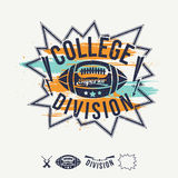 Rugby emblem college division and design elements. Rugby emblem college division bright colors. Graphic design for t-shirt on white background Royalty Free Stock Images
