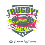 Rugby emblem girl's print and design elements Stock Photos