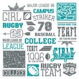 Rugby en honkbal het ontwerpelementen van de teamuniversiteit Stock Foto