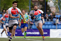 Rugby Europe Sevens Club Champion`s Trophy in St. Petersburg, Russia. St. Petersburg, Russia - May 27, 2017: Match Mediterranee XV, France vs youth team of St Stock Photo