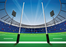 Rugby field with bright stadium. Vector illustration Stock Photo