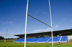 Rugby field and goalposts Stock Photo