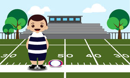 Rugby field rugby player  illustration Stock Photo