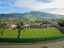 Rugby Field in Saint-Jean-Pied-de-Port city, France Stock Photos