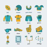 Rugby flat icons set Stock Photography