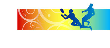 Rugby and football background. The silhouette of two players in a game of rugby football, one running to catch the ball shown on a red, yellow and blue Royalty Free Stock Photos