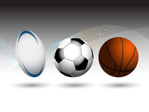 Rugby Football and Basketball background Stock Photography
