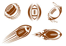 Rugby and football mascots Royalty Free Stock Images