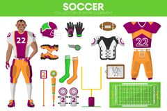 Rugby football sport equipment game player garment accessory vector icons set Stock Photography
