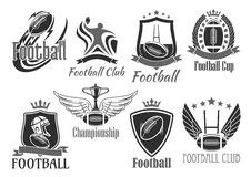 Rugby football vector badges for championship cup Royalty Free Stock Photo