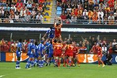 Rugby français du principal 14 - USAP contre Montpellier HRC Photos stock