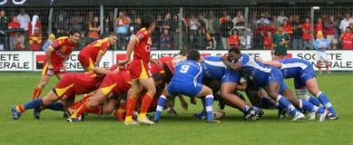 Rugby francês da parte superior 14 - USAP contra Montpellier HRC Fotografia de Stock