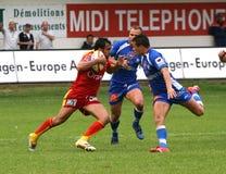 Rugby francês da parte superior 14 - USAP contra Montpellier HRC Fotos de Stock Royalty Free