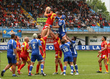 Rugby francês da parte superior 14 - USAP contra Montpellier HRC Fotografia de Stock Royalty Free