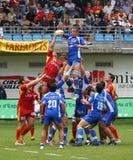 Rugby francês da parte superior 14 - USAP contra Montpellier HRC Imagem de Stock