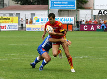 Rugby francês da parte superior 14 - USAP contra Montpellier HRC Imagens de Stock Royalty Free