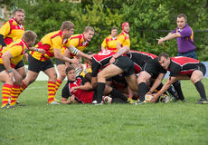 Rugby game moment Royalty Free Stock Image