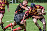 Rugby game players Stock Image