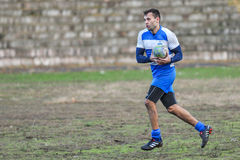 Rugby game players during the in first league championship in ukraine autumn Royalty Free Stock Photo