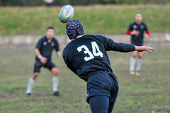 Rugby game players during the in first league championship in ukraine autumn Stock Photos