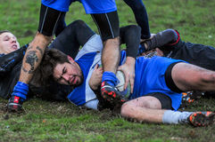 Rugby game players during the in first league championship in ukraine autumn Royalty Free Stock Photography