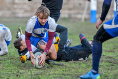 Rugby game players during the in first league championship in ukraine autumn Stock Images
