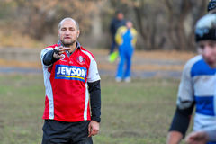 Rugby game players during the in first league championship in ukraine autumn Stock Image