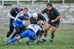 Rugby game players during the in first league championship in ukraine autumn Royalty Free Stock Photos